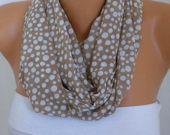 ON SALE --- Milky Brown Polka Dot Infinity Scarf  Chiffon Circle  Loop Scarf Gift Ideas for her Women's Fashion Accessories
