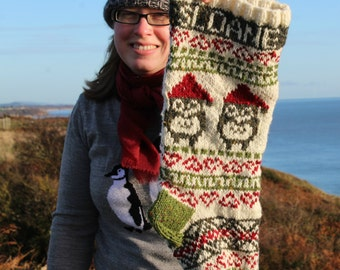 Knit Santa Owl Christmas Stocking Personalized (made to order) Fair Isle Xmas Knitted Holiday Xmas Stocking