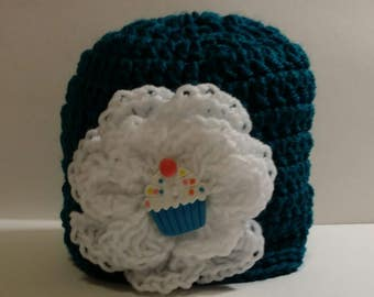 Teal Beanie Hat with flower button, crochet, colorful, white, large flower, cupcake, green, warm, weather, cold, snow, messy bun hat