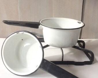 Vintage Enamelware Pots / Set of Pans / Black Rimmed Enamel Pans / Enamel Pots