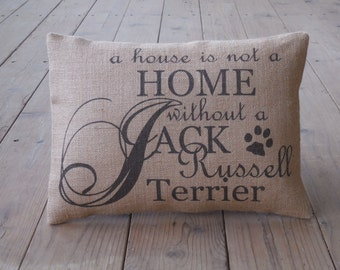 Jack Russell Burlap Pillow, Dog Pillow, shabby chic, INSERT INCLUDED