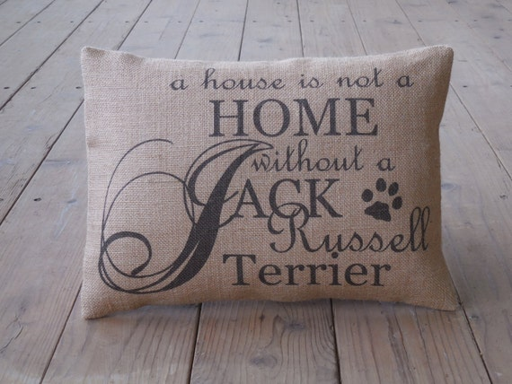 Jack Russell Burlap Pillow Dog Pillow shabby chic INSERT