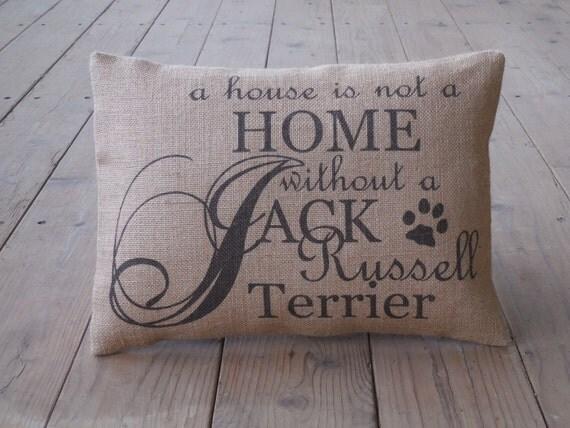 Jack Russell Burlap Pillow Dog Pillow shabby chic INSERT