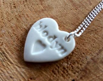 Blodyn Ceramic Heart Pendant.Blodyn/Flower.Welsh Love Heart Necklace .Porcelain Heart Pendant.Gift idea Handmade .Made in Wales,Uk.