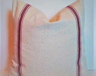 Farmhouse Pillow Red Grain sack Look Pillow Cover Red Stripe Grainsack Pillow Red Farmhouse Pillow