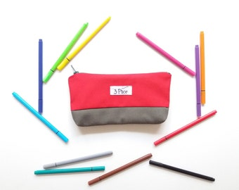 Toiletry Pouch / Pencil Case Red + Olive Green / Zipper Cosmetic Bag / Earth Friendly Makeup bag / Eco-Friendly School Supplies Bag