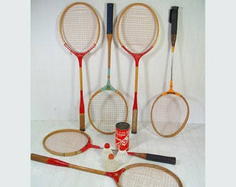 Retro Wooden Badminton Racquets Collection of 4 - Vintage Mid Century OutDoor Sports 4 Pieces Gameroom Decor - 4 Rackets Individual or Group