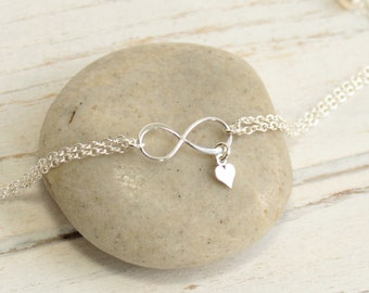 Sterling Silver Infinity and Mini Heart Bracelet