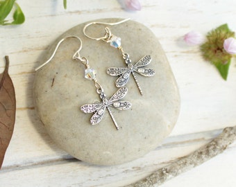Silver Dragonfly and Crystal Earrings... with Your Choice of Birthstone on Sterling Silver Hooks