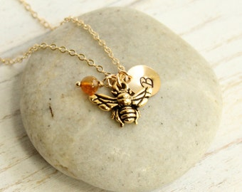 Gold Bee Necklace -- Choose Your Personalized Initial and Birthstone
