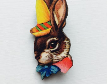 Easter Bunny Rabbit in Yellow Hat Bowtie Brooch Animal Portrait Birthday Wooden Pin Gift for Stocking Filler Stuffer Jewellery Pin Collar