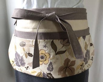 Utility Apron/Teacher Apron with 8 pockets and loop in taupe mustard grey cream floral