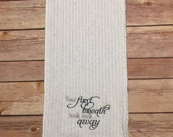Burp Cloth, Embroidered: All of God's Grace..., Blue & Gray, Baby Gift, Infant Gift, Welcome Home Baby Gift, Baby Shower Gift, Ready to Ship