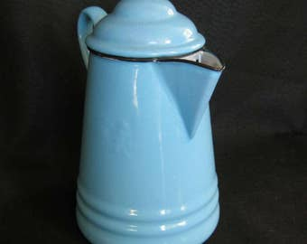 Vintage French Blue Enamelware Coffee Pot