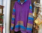 NEPAL - Embroidered BUTTERFLY Patchwork Tie Dyed & Hand Painted Hoodie Zip Front Cotton Jacket - Size XXL