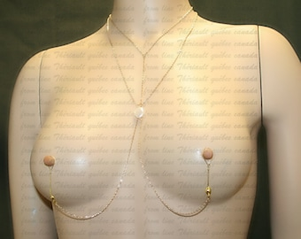 Nipple jewelry with chains - Nipple fake piercing - Non-pierced nipple jewelry  with free form fresh water pearl (m18)