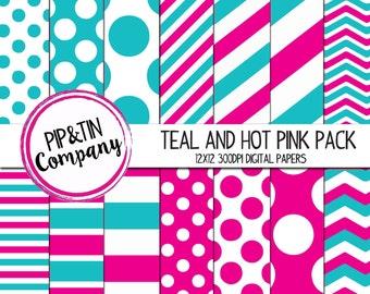 Teal and Hot Pink Digital Paper Pack, Scrapbook Paper, Pink, Blue, Instant Download,  Polka Dots Stripes