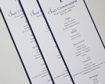 Dark Blue Elegant Cross Baptism-Communion Menu