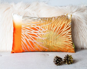 Orange throw pillow, ombre cushion with floral silver + gold embroidery, upcycled silk from Japan, ECO gift, metallic GLAM BOHO style Ltd Ed