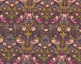 "Liberty Tana Lawn fabric STRAWBERRY THIEF - 17"" wide x 13"" (43cm x 33cm) - purple"