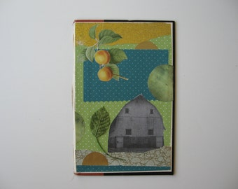 GRANDMOTHER'S FARM---original collage on book back - found images, barn, farmhouse, nostalgic