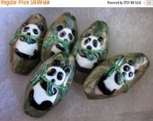 30% OFF PANDA BEADS  -  5 Ceramic Beads - Double-Sided - Green, White, Black, Brown