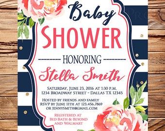 Baby shower invitation girl, Girl baby shower invite, pink watercolor flowers, glitter, gold, navy white stripes, boy, girl, 1769