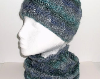 Women's hand knitted infinity cowl neckwarmer and beanie hat set