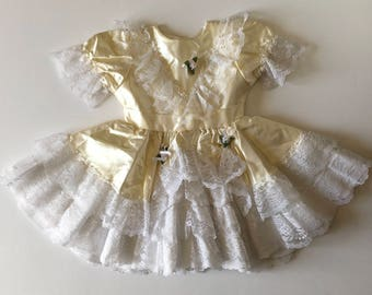 1980's Cream Satin & Lace Party Dress (4t)
