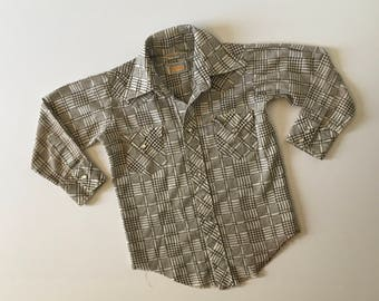 1970's Brown Knit Western Top Pearl Snaps (3/4)