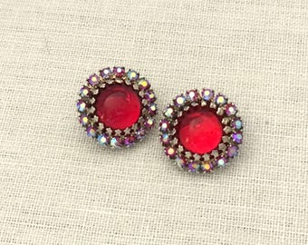 Vintage Clip On Earrings - Red Rhinestone Earrings - Vintage Rhinestone Clip On Round Earrings - 1960s Rhinestone Earrings Gift for Mom