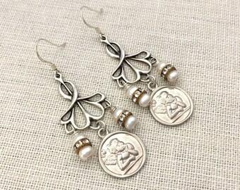 Sterling Silver Dangle Earrings Gift for Wife - Silver Angel Earrings -  Silver Cherub Earrings - Pearl Earrings - Handmade Jewelry Earrings