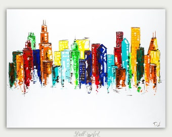 Original Colorful Chicago Skyline View Oil Painting Abstract Modern Skyline Artwork City Home Decor