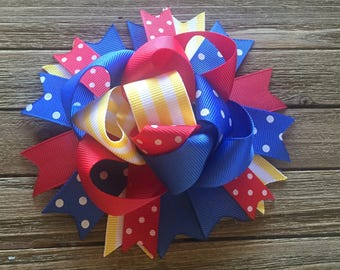 School hair bow , red yellow and blue funky hair bow , primary colors hair bow , funky hair bow , birthday bow , school hair clip