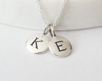 Silver 2 Initial Charm Necklace - Personalized Necklace - Initial Necklace