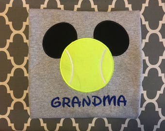 Tennis Mouse head personalized applique Adult and Plus Size shirt