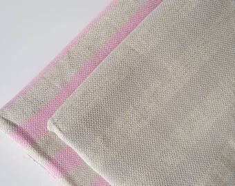 SALE 50% OFF Natural Turkish Towel, Peshtemal, For her, for him, Bath and Beauty, Cotton, yoga, Beige and pink