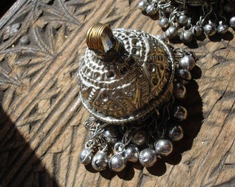 Kuchi  large tarnished bell shaped chain  pendant with bells