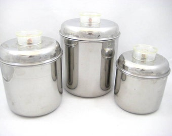 Vintage Revere 1801 Stainless Steel Nesting Canisters, Set of 3, Lucite Knobs / Handles, Sturdy Canister Set, Mid Century