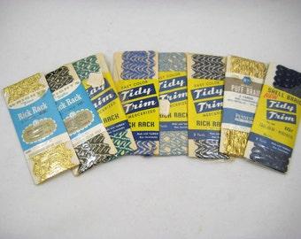 Vintage Metallic Rick Rack, Puff Braid & Shell Braid - 8 Packages Tidy Trim, Wrights Trimtex, Pennys - Gold, Blue Silver Trim Assortment