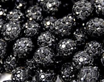 8mm Black Crystal Rhinestone Clay Round Pave Beads -25