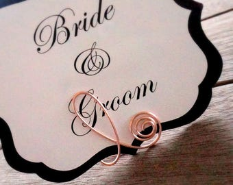 Rose Gold Wedding Table Number Holders, 3pcs