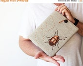 SALE -40% Beetle - iPad 2 3 4 case - Hands embroidery - Grey brown - Rustic - christmas gift