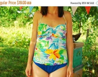 SALE 90s One Piece Swimsuit  Floral Print multicolor Aquarelle Print