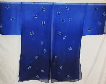 blue ombre silk kimono, star kimono, silk robe, silk jacket, festival wear, evening wear, resort wear, beach coverup, hand painted silk