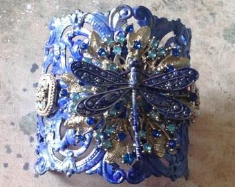Blue Filigree Cuff Dragonfly Vintage Bling Adjustable