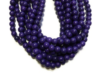 Purple Howlite - 8mm Round Bead - Full Strand - 53 beads - Grape - Violet- Eggplant - Synthetic Turquoise