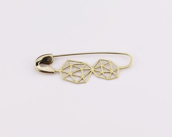 FIBULOSO PETRA hand sawed brass safety pin brooch