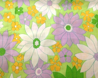 1970's Flower Power Fabric .  Lime Green and Purple Floral Print Fabric . Daisy Retro Neon . Thin Cotton . Clothing Fabric