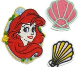 3pcs Disney Princess Ariel Embroidered Applique Patch. Iron On or Sew On Badge for T-shirts, Jeans, Shirts.  Little Mermaid and Shells